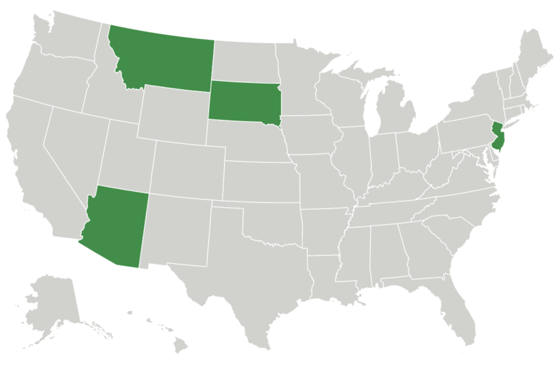 Map of states with recreational cannabis measures on the ballot in 2020