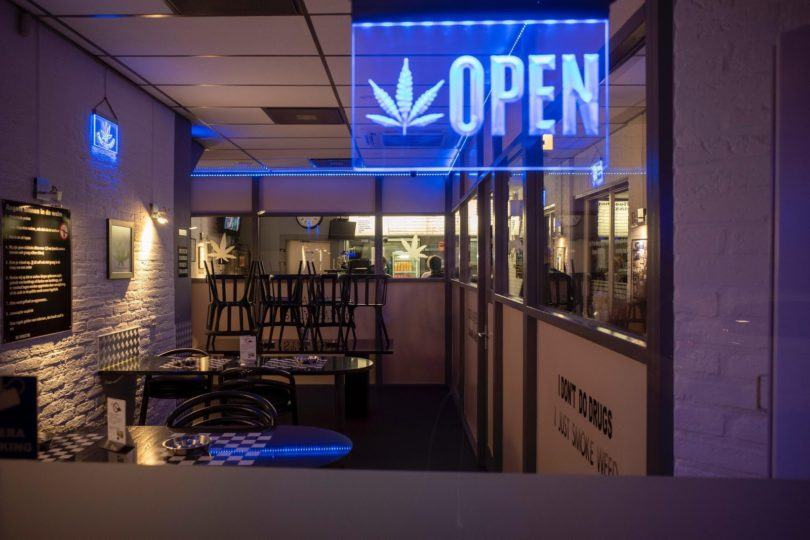 Open sign of a dispensary